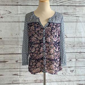 Lucky Brand Long Sleeve Button-Down Sheer Blouse
